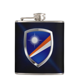 Marshall Islands Metallic Emblem Hip Flask