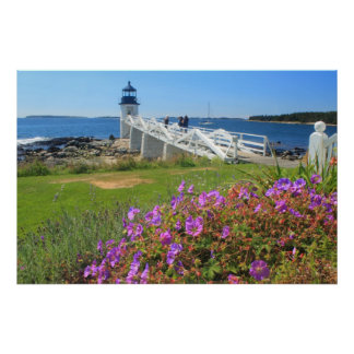 Marshall Point Lighthouse Morning Glory Flowers Poster