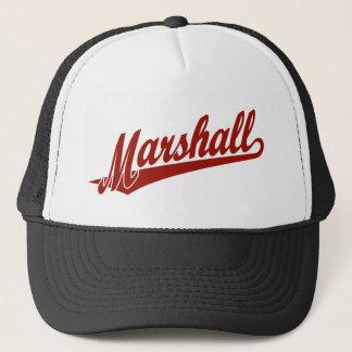 Marshall script logo in red trucker hat