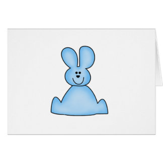 Marshmallow Bunny (blue) Tshirts and Gifts Greeting Card