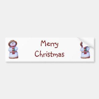 Marshmallow Snowman Merry Christmas Bumper Sticker Car Bumper Sticker