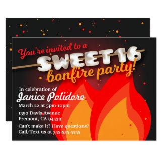 Marshmallow Sweet 16 Bonfire Party Invitation