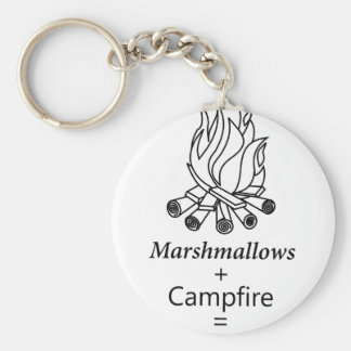 Marshmallows + Campfire = Yay! Basic Round Button Key Ring