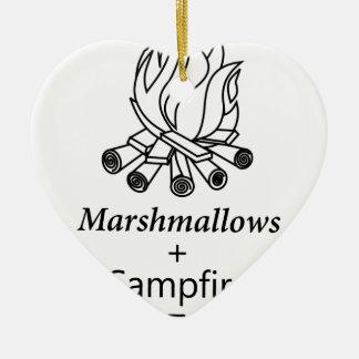 Marshmallows + Campfire = Yay! Ceramic Heart Decoration