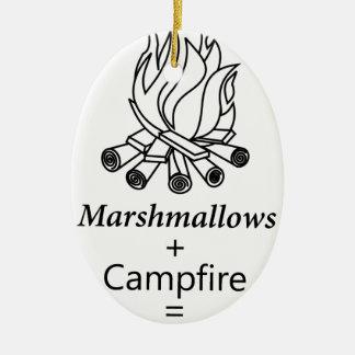 Marshmallows + Campfire = Yay! Ceramic Oval Decoration
