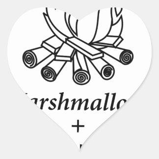 Marshmallows + Campfire = Yay! Heart Sticker