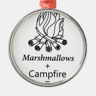 Marshmallows + Campfire = Yay! Metal Ornament