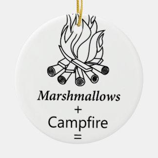 Marshmallows + Campfire = Yay! Round Ceramic Decoration