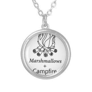 Marshmallows + Campfire = Yay! Silver Plated Necklace