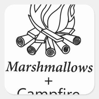 Marshmallows + Campfire = Yay! Square Sticker