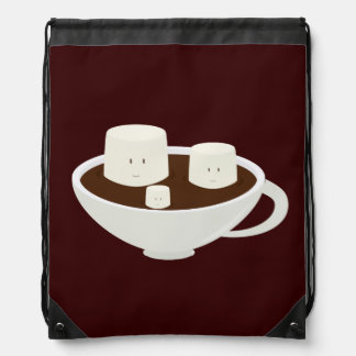 Marshmallows in a cup of hot chocolate drawstring bag