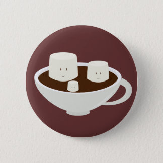 Marshmallows in hot chocolate 6 cm round badge
