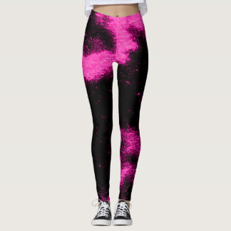 Marshmello Pink Black Light Remix Dance Leggings
