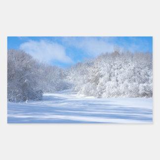 Marthaler Park Snowy Hills Rectangular Sticker