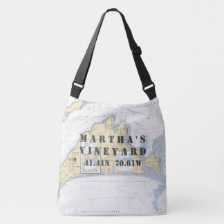 Martha's Vineyar Latitude Longitude Nautical Theme Crossbody Bag