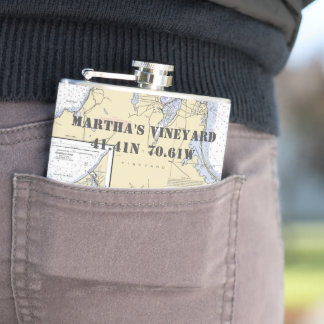 Martha's Vineyard Latitude Longitude Nautical Flasks