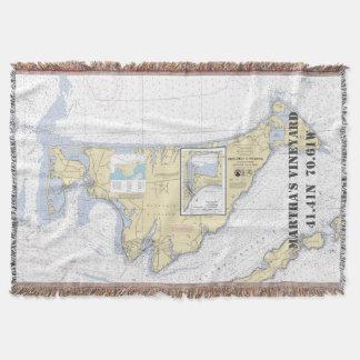 Martha's Vineyard Latitude Longitude Nautical Throw Blanket