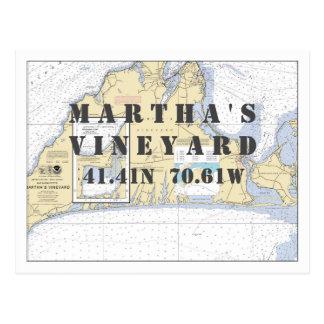 Martha's Vineyard Nautical Latitude Longitude Postcard