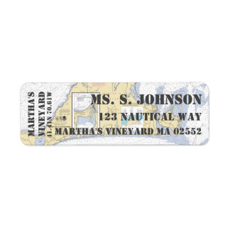 Martha's Vineyard Nautical Navigation Chart Return Address Label