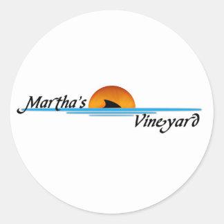 Marthas Vineyard Shark Round Sticker