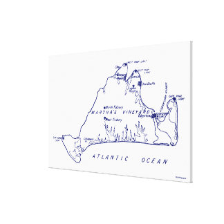Martha's Vineyard Vintage Map #1 Navy Blue Canvas Print