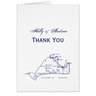 Martha's Vineyard Vintage Map #1 Navy Blue Card