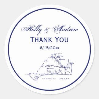 Martha's Vineyard Vintage Map #1 Navy Blue Classic Round Sticker