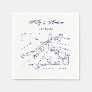 Martha's Vineyard Vintage Map #1 Navy Blue Disposable Napkin