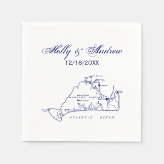 Martha's Vineyard Vintage Map #1 Navy Blue Paper Serviettes
