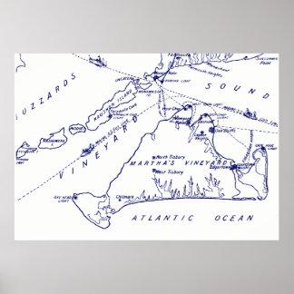 Martha's Vineyard Vintage Map #1 Navy Blue Poster
