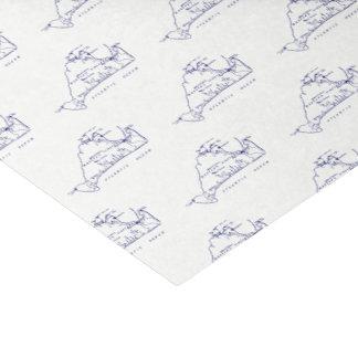 Martha's Vineyard Vintage Map #1 Navy Blue Tissue Paper