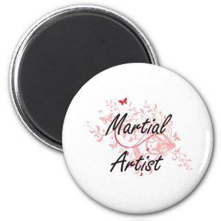 Martial Artist Artistic Job Design with Butterflie 6 Cm Round Magnet