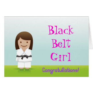 Martial Arts Black Belt Girl Congratulations Card