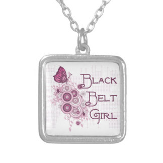 Martial Arts Black Belt Girl Pink Butterfly Silver Plated Necklace