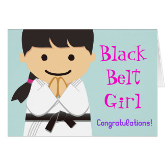 Martial Arts Black Belt Girl Smile Card