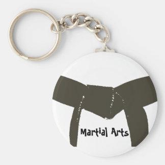 Martial Arts Brown Belt Basic Round Button Key Ring