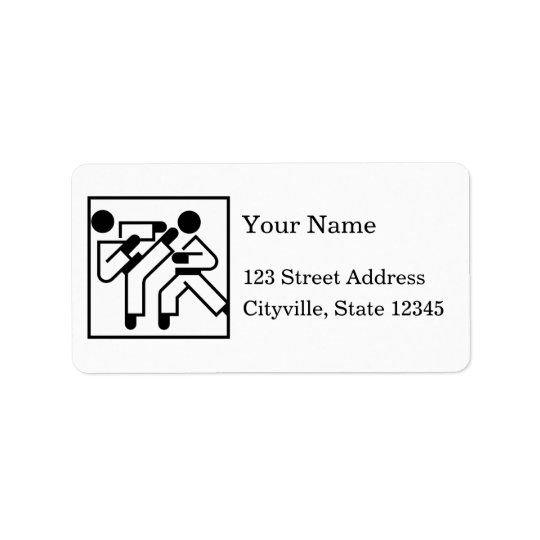Martial Arts Figures Address Label