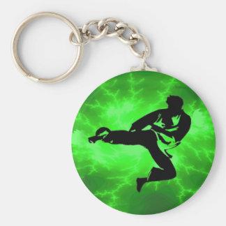 Martial Arts Green Lightning Man Key Ring