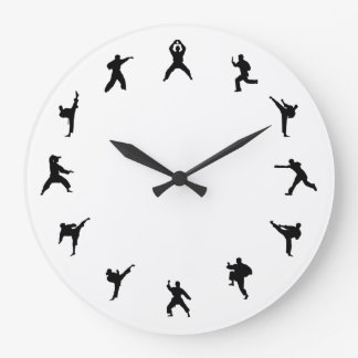 Martial Arts Karate (Black, White) Large Clock