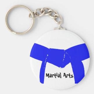 Martial Arts Light Blue Belt Basic Round Button Key Ring