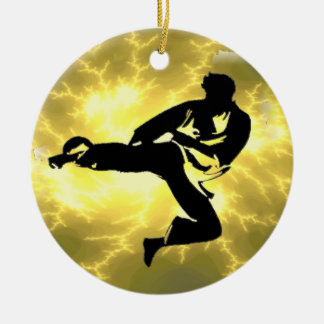 Martial Arts Lightning Bronze Male Design Ceramic Ornament