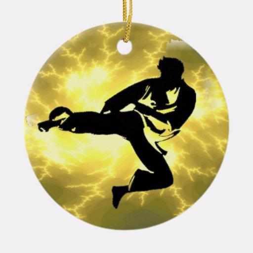 Martial Arts Lightning Bronze Male Design Christmas Ornament
