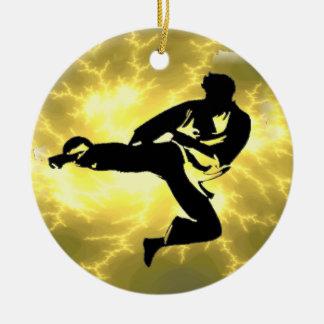 Martial Arts Lightning Bronze Male Design Round Ceramic Decoration