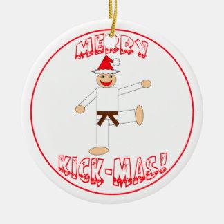 Martial Arts Merry Kick Mas Brown Belt Dated Round Ceramic Decoration