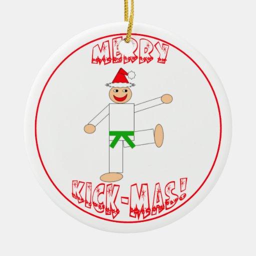 Martial Arts Merry Kick Mas Green Belt Ornament