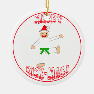 Martial Arts Merry Kick Mas Green Belt Round Ceramic Decoration