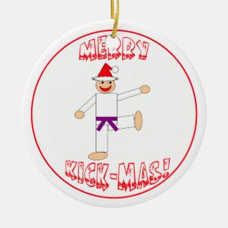 Martial Arts Merry Kick Mas Purple Belt Round Ceramic Decoration