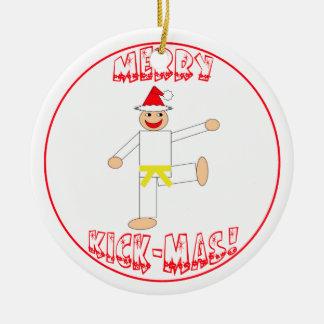 Martial Arts Merry Kick Mas Yellow Belt Round Ceramic Decoration
