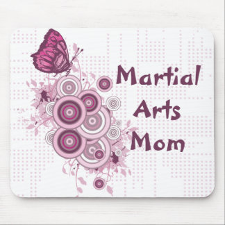 Martial Arts Mom Pink Butterflies Mouse Pad