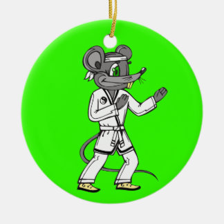 Martial Arts Mouse Mice Round Ceramic Decoration